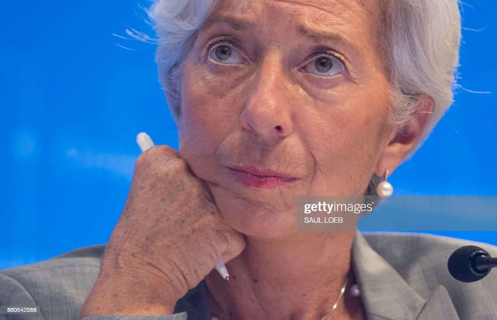 IMF Managing Director Christine Lagarde looks on during a press conference at the World Bank Group / International Monetary Fund Annual Meetings at IMF Headquarters in Washington, DC, October 12, 2017. /
