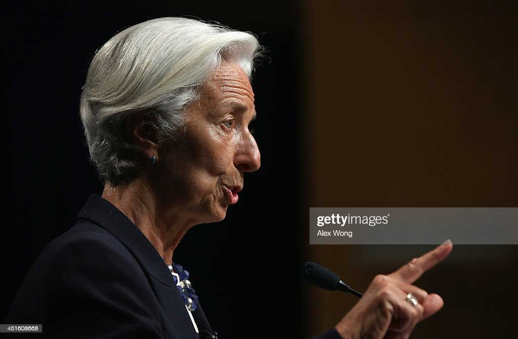 Managing Director Christine Lagarde speaks during a discussion at the International Monetary Fund July 2, 2014 in Washington, DC. Federal Reserve Board Chair Janet Yellen delivered the inaugural Michel Camdessus Central Banking Lecture on financial stability.