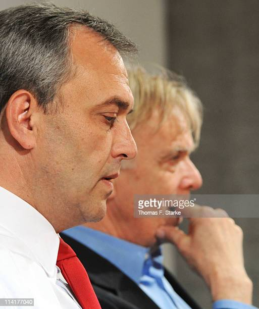 Managing director Claus Horstmann and head coach Volker Finke of Koeln look on at the press conference after the Bundesliga match between 1 FC Koeln...