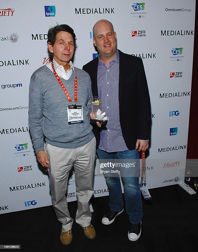 Managing Director Green Room Entertainment Guy McCarter (L) and a guest arrive at the MediaLink CES Kickoff event at the Tryst nightclub at Wynn Las Vegas on January 7, 2013 in Las Vegas, Nevada.