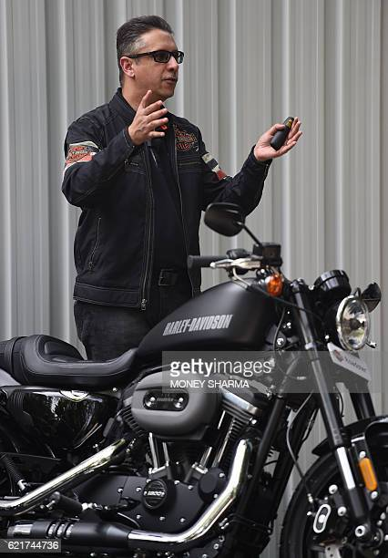 Managing Director HarleyDavidson India Vikram Pawah speaks during the launch of HarleyDavidson Roadster and Road Glide motorcycles at an event in New...