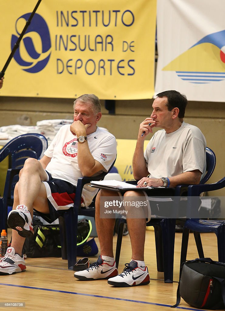 Managing Director Jerry Colangelo and head coach Mike Krzyzewski of the USA Basketball Men's National Team prepare for practice on August 24, 2014 at Pabellon de El Tablero Practice Facility in El Tablero, Gran Canaria, Spain.