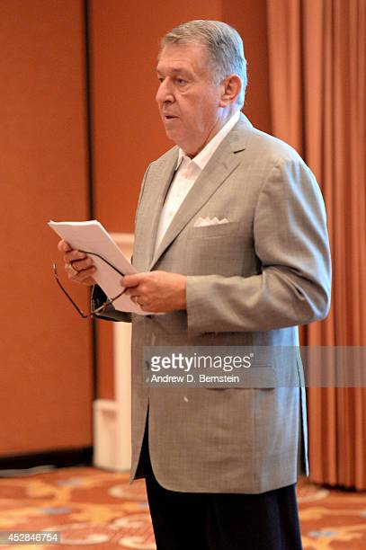 Managing Director Jerry Colangelo speaks during the USA Basketball Men's National Team Meeting at the Wynn Las Vegas on July 27 2014 in Las Vegas...