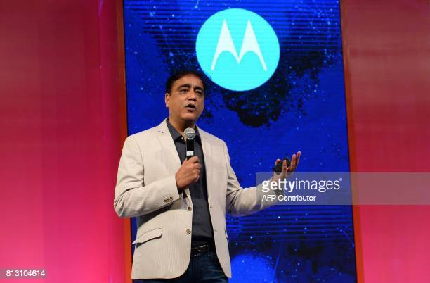 Managing director Motorola Mobility India Sudhin Mathur speaks during the launch of the Lenovoowned Motorola Moto E4plus and Moto E4 smartphones at a...