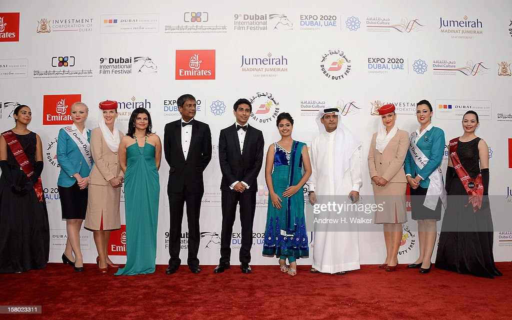 Managing Director of DIFF Shivani Pandya, actors Adil Hussain, Suraj Sharma, Shravanthi Sainath and DIFF Chairman Abdulhamid Juma attend the 'Life of PI' Opening Gala during day one of the 9th Annual Dubai International Film Festival held at the Madinat Jumeriah Complex on December 9, 2012 in Dubai, United Arab Emirates.