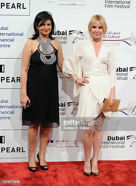 Managing Director of DIFF Shivani Pandya and actress Emma Caulfield attend the 'Tron Legacy' premiere during day seven of the 7th Annual Dubai...
