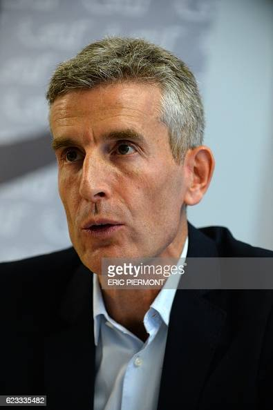 Managing Director of French train company SNCF Transilien Alain Krakovitch speaks during a press conference of the Syndicat des transports...