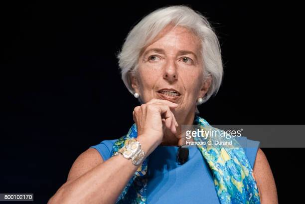 Managing director of IMF Christine Lagarde gives a conference during the Cannes Lions creativity Festival 2017 on June 23 2017 in Cannes France