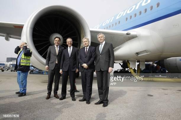 Managing director of KLM Camiel Eurlings Dutch Minister of Economic Affairs Henk Kamp Mayor of Amsterdam Eberhard van der Laan and Schiphol CEO Jos...