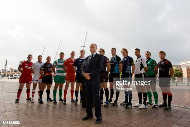 Managing Director of Magners GB Limited Gordon Johncox in front of Llanelli Scarlets' Matthew Rees Ulster's Bryn Cunningham NewportGwent Dragons' Tom...