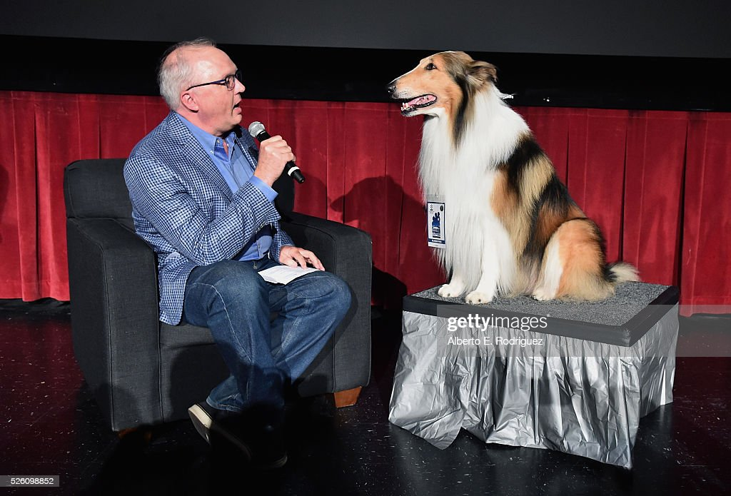 Managing Director of Preservation and Foundation Programs for the Academy of Motion Picture Arts and Sciences Randy Haberkamp (L) and Lassie speak onstage during 'Lassie Come Home' during day 2 of the TCM Classic Film Festival 2016 on April 29, 2016 in Los Angeles, California. 25826_006