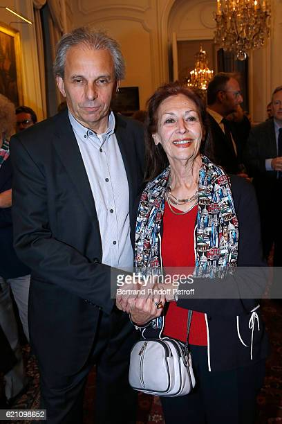 Managing director of the company Moulinsart Nick Rodwell and his wife Fanny Rodwell attend Fanny Rodwell second wife of Herge is decorated of the...
