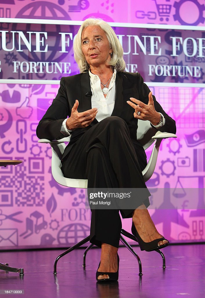 Managing Director of the IMF <a gi-track='captionPersonalityLinkClicked' href=/galleries/search?phrase=Christine+Lagarde&family=editorial&specificpeople=566337 ng-click='$event.stopPropagation()'>Christine Lagarde</a> speaks onstage during the FORTUNE Most Powerful Women Summit on October 15, 2013 in Washington, DC.