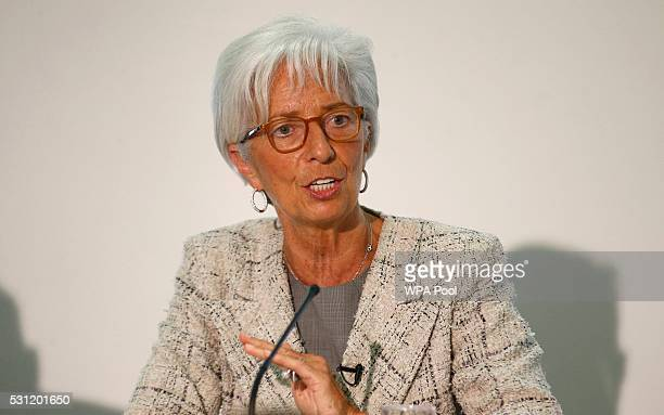 Managing Director of the International Monetary Fund Christine Lagarde answers questions during a press conference at the Treasury on May 13 2016 in...