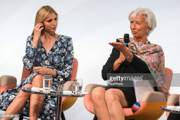 Managing Director of the International Monetary Fund Christine Lagarde and Daughter of US President Ivanka Trump attend the Woman 20 Summit in Berlin...