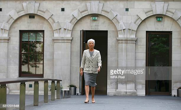 Managing Director of the International Monetary Fund Christine Lagarde arrives at the Treasury to meet Britain's Chancellor George Osborne prior to a...