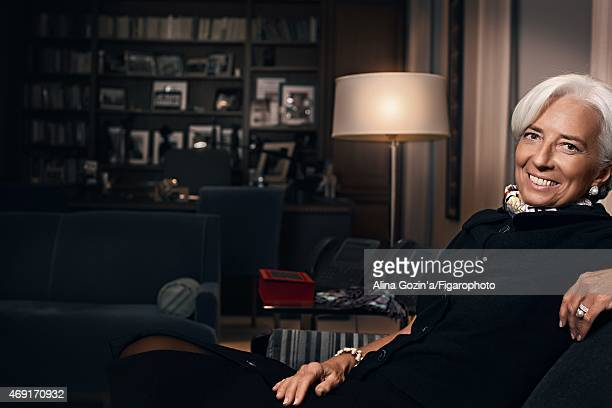 Managing director of the International Monetary Fund Christine Lagarde is photographed for Madame Figaro on January 13 2015 in her office in...