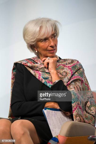 Managing Director of the International Monetary Fund Christine Lagarde is pictured during the Woman 20 Summit in Berlin Germany on April 25 2017 The...
