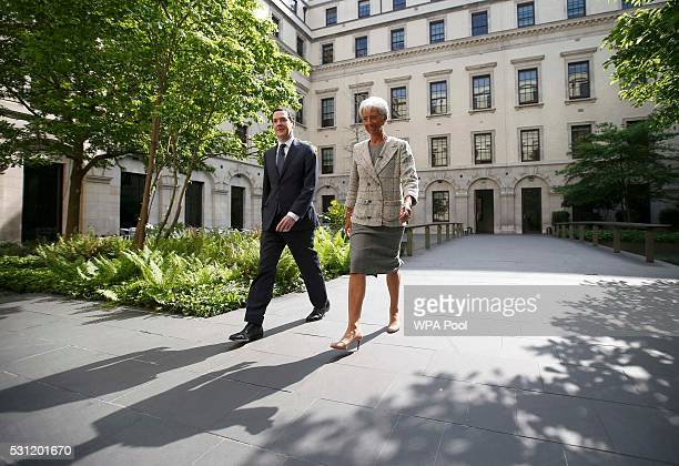 Managing Director of the International Monetary Fund Christine Lagarde meets with Britain's Chancellor George Osborne at the Treasury prior to a...