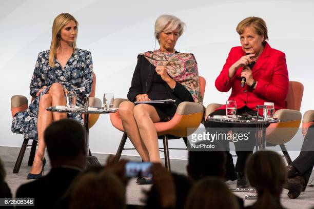 Managing Director of the International Monetary Fund Christine Lagarde German Chancellor Angela Merkel and Daughter of US President Ivanka Trump...