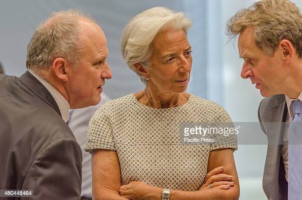 Managing Director of the International Monetary Fund Christine Lagarde talks for the start of a meeting of eurozone finance ministersThe Eurogroup...