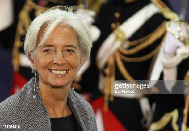Managing Director of the International Monetary Fund Christine Lagarde leaves the conference centre after the first day of the G20 Summit on November...