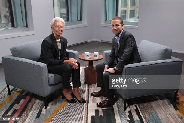 Managing Director of the International Monetary Fund Christine Lagarde speaks with LinkedIn Executive Editor Dan Roth at LinkedIn Studios on...