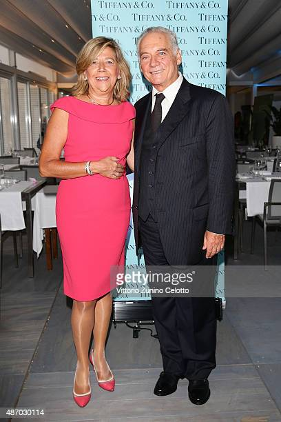 Managing Director of Tiffany Co Italy Raffaella Banchero and actor Giorgio Colangeli attend a cocktail reception for 'The Wait' hosted by Tiffany Co...