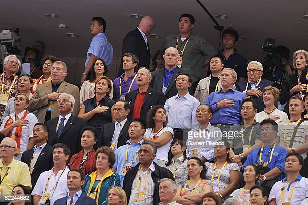 Managing Director of USA Basketball Jerry Colangelo George HW Bush China Foreign Prime Minister Yang Jiechi US President George W Bush and Laura Bush...