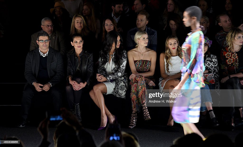 Managing Director & spokesperson for Desigual Manel Jadraque, actress Katie Holmes, model Adriana Lima, model Lena Gercke, and DJ Harley Viera-Newton attend the Desigual fashion show during Mercedes-Benz Fashion Week Fall 2015 at Lincoln Center for the Performing Arts on February 12, 2015 in New York City.