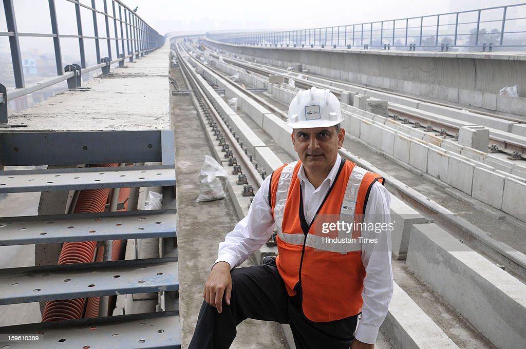 Managing Director-RMGL Sanjiv Rai at DLF Phase 2 Metro Station, on January 17, 2013 in Gurgaon, India. Rapid metrorail is India's first privately owned and operated metro that will connect the Delhi Metro yellow line to interiors of Gurgaon city. Rapid Metro Rail Gurgaon plans to commence commercial operations by April 2013.