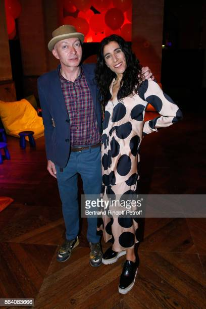 Managing Editor at 'Beaux Arts magazine' Fabrice Bousteau and choreographer Blanca Li attend the 'Bal Jaune Elastique 2017' Dinner Party at Palais...