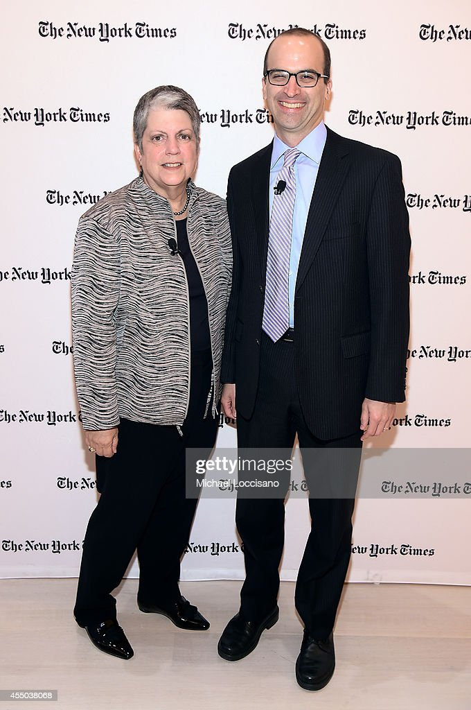 Managing Editor of The Upshot David Leonhardt (R) and <a gi-track='captionPersonalityLinkClicked' href=/galleries/search?phrase=Janet+Napolitano&family=editorial&specificpeople=589781 ng-click='$event.stopPropagation()'>Janet Napolitano</a>, president of the University of California attend The New York Times 2014 Schools For Tomorrow Conference at TheTimesCenter on September 9, 2014 in New York City.