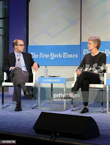 Managing Editor of The Upshot David Leonhardt and President of Vassar College Catharine Bond Hill speak onstage at The New York Times 2014 Schools...