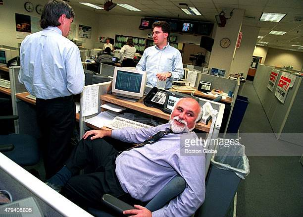 Managing Editor Vince Doria sits at the assignment desk with Production Coordinator Stu Nicol and SportsCenter producer Gerry Matalone Nov 2 1995
