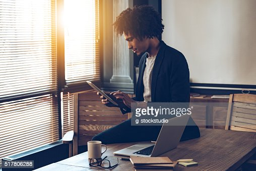 Managing his timetable. : Stock Photo