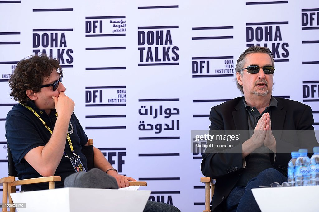 Managing Partner Front Row Entertainment Gianluca Chakra and CCO Tribeca Enterprises Geoffrey Gilmore speak at Doha Talks: Distribution and How to Make Your Film Travel during the 2012 Doha Tribeca Film Festival at Al Mirqab Boutique Hotel on November 18, 2012 in Doha, Qatar.