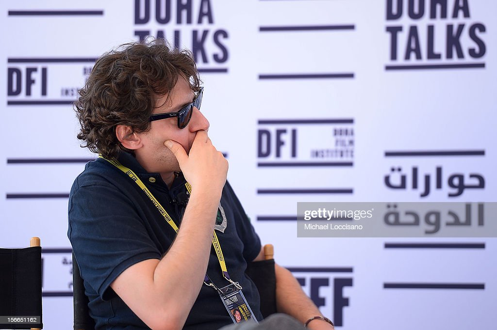 Managing Partner Front Row Entertainment Gianluca Chakra speaks at Doha Talks: Distribution and How to Make Your Film Travel during the 2012 Doha Tribeca Film Festival at Al Mirqab Boutique Hotel on November 18, 2012 in Doha, Qatar.