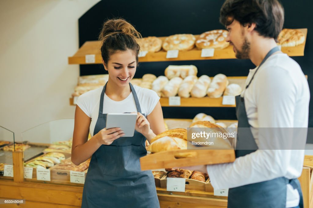 Managing the bakery : Stock Photo