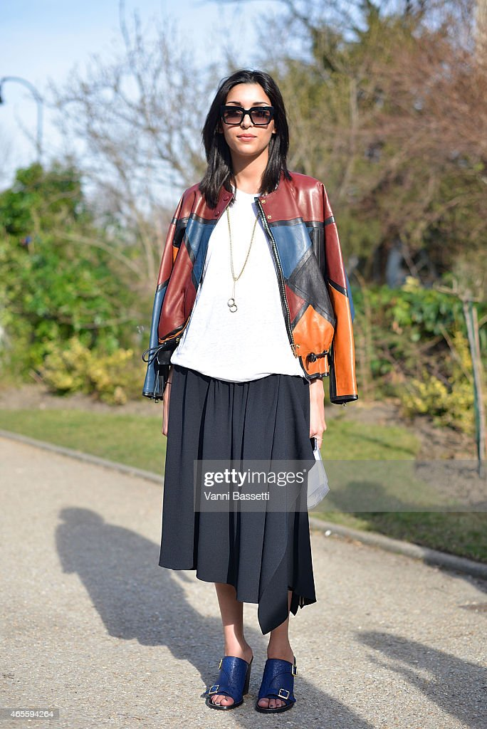 Manal Aboudafir poses wearing a Chloe total look on Day 6 of Paris Fashion Week Womenswear FW15 on March 8 2015 in Paris France
