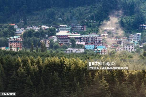 Manali village hotel and tourist resort in morning sunrise,Himachal Pradesh,india