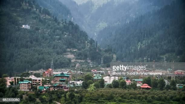 Manali village in the morning before Rotang La pass india road trip