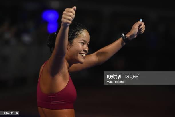 Manami Iijima celebrates placing second in the Half Marathon during the United Airlines Guam Marathon 2017 on April 9 2017 in Guam Guam