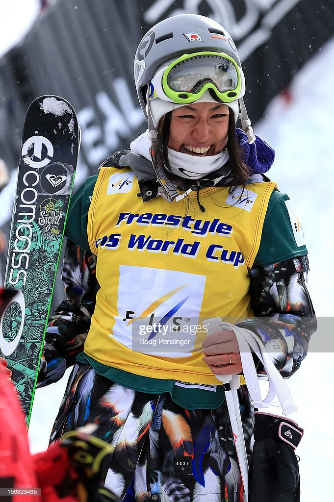 Manami Mitsuboshi of Japan reacts after earning the overall points leader bib with her 11th place finish in the FIS Freestyle Ski Half Pipe World Cup at the US Grand Prix on January 11, 2013 in Copper Mountain, Colorado.
