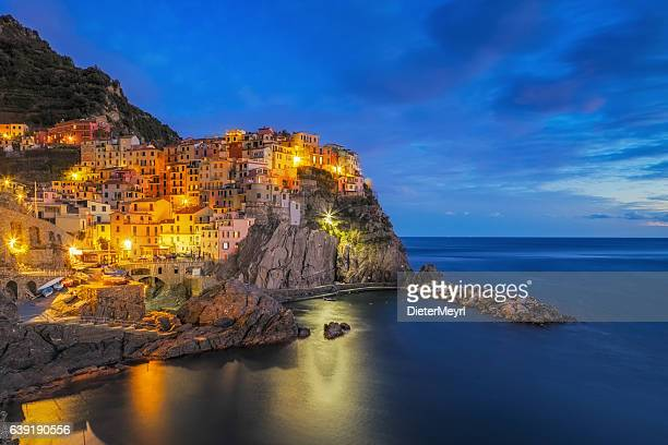 Manarola at dawn, Cinque Terre National Park, Liguria, Italy