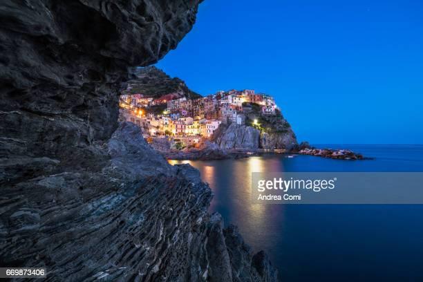 Manarola at twilight. Cinque Terre, La Spezia, Liguria