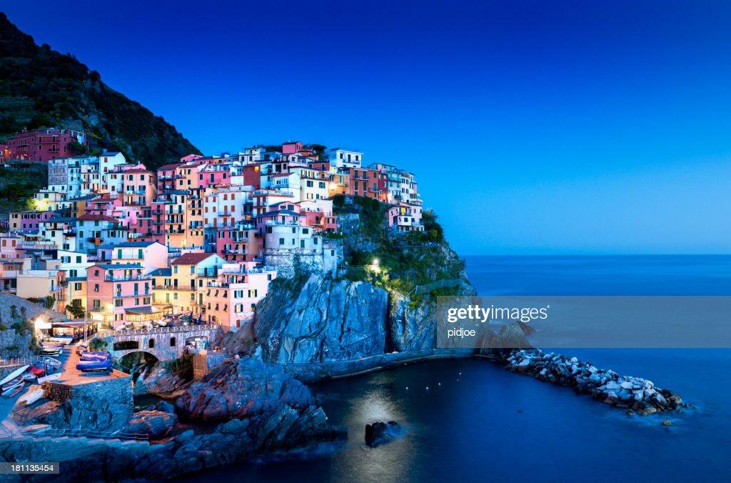 'Manarola Cinque Terre at night, Liguria Italy'