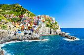 Colorful houses of Manarola town, Cinque Terre national park, Liguria, Italy