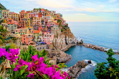 Manarola, Cinque Terre view with flowers, Italy : Stock Photo