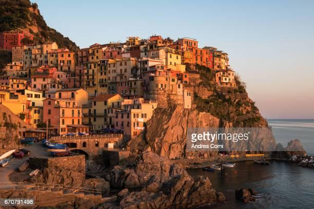 Manarola village at sunset. Manarola, Cinque Terre, La Spezia, Liguria